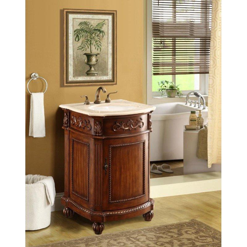 Elegant Decor 24 in. Single Bathroom Vanity Set in Brown (VF-1009)