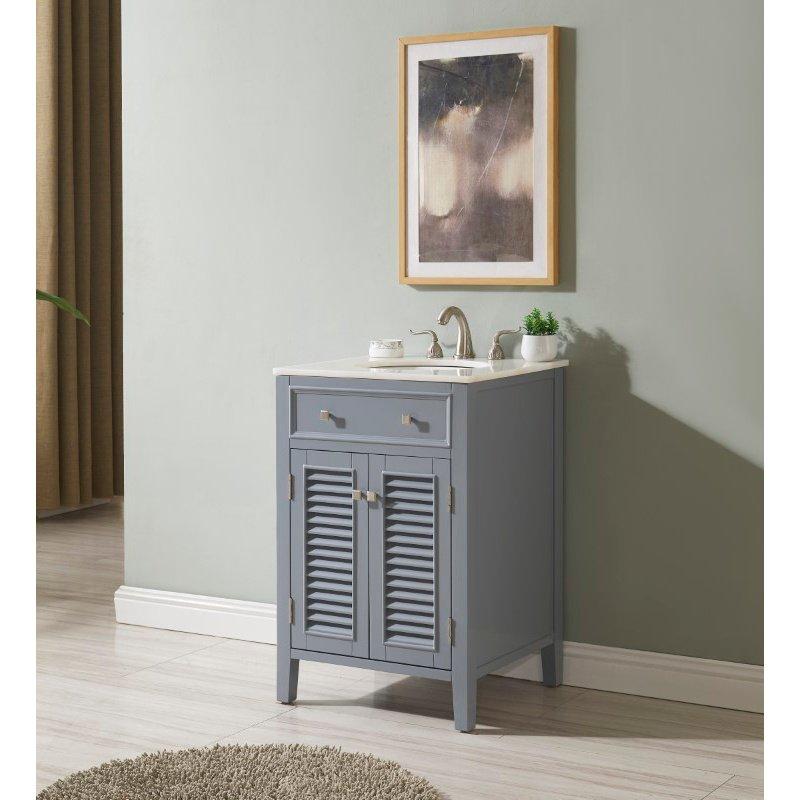 Elegant Decor 24 in. Single Bathroom Vanity Set in Grey (VF10424GR)
