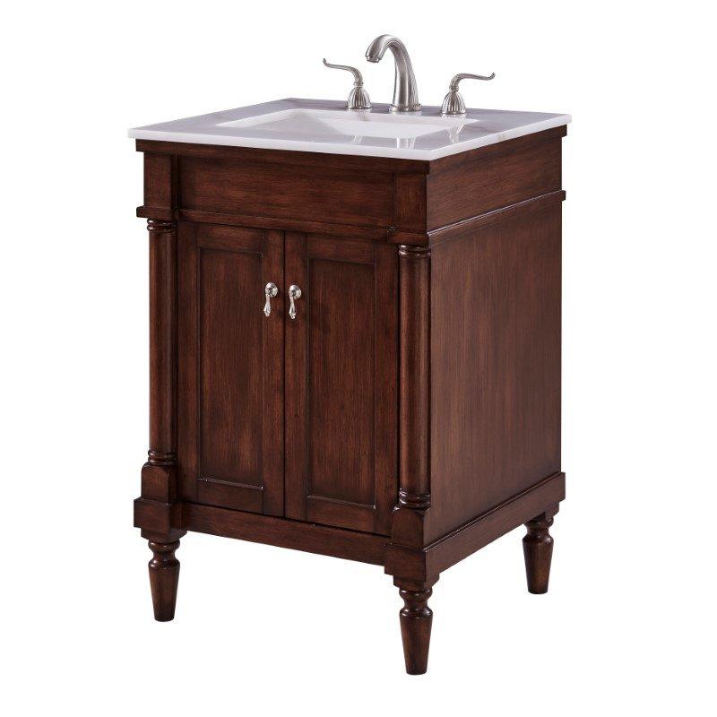 Elegant Decor 24 in. Single Bathroom Vanity Set in Walnut (VF13024WT)