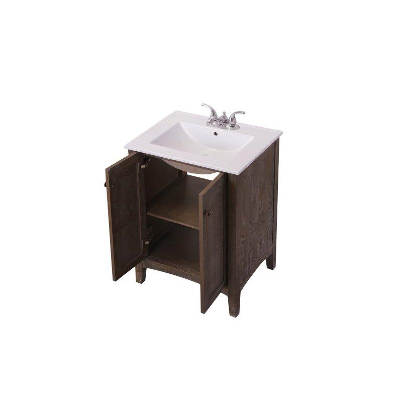 Elegant Decor 24 in. Single Bathroom Vanity Set in Weathered Oak (VF-2004)