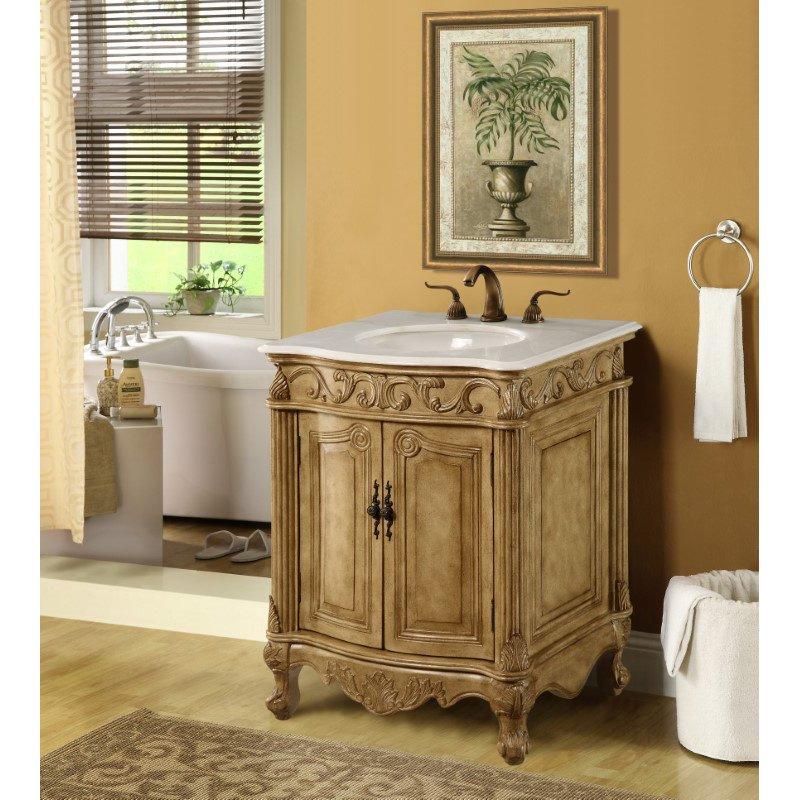 Elegant Decor 27 in. Single Bathroom Vanity Set in Antique Beige (VF-1002)