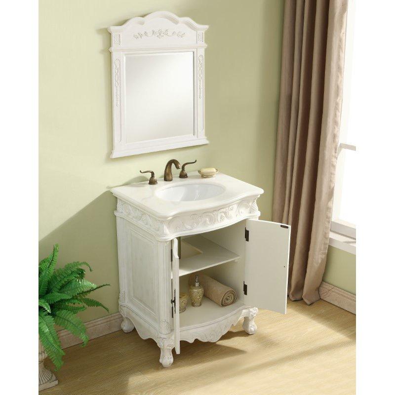 Elegant Decor 27 in. Single Bathroom Vanity Set in Antique White (VF-1008)