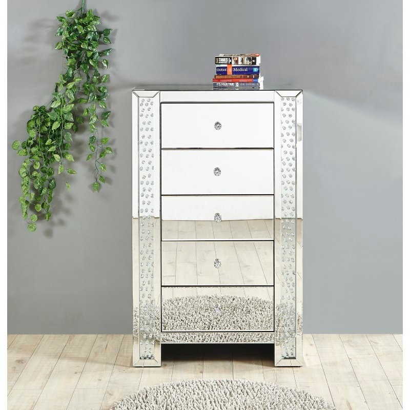 Elegant Decor 29 inch Crystal five drawers Chest in Clear Mirror Finish (MF91005)