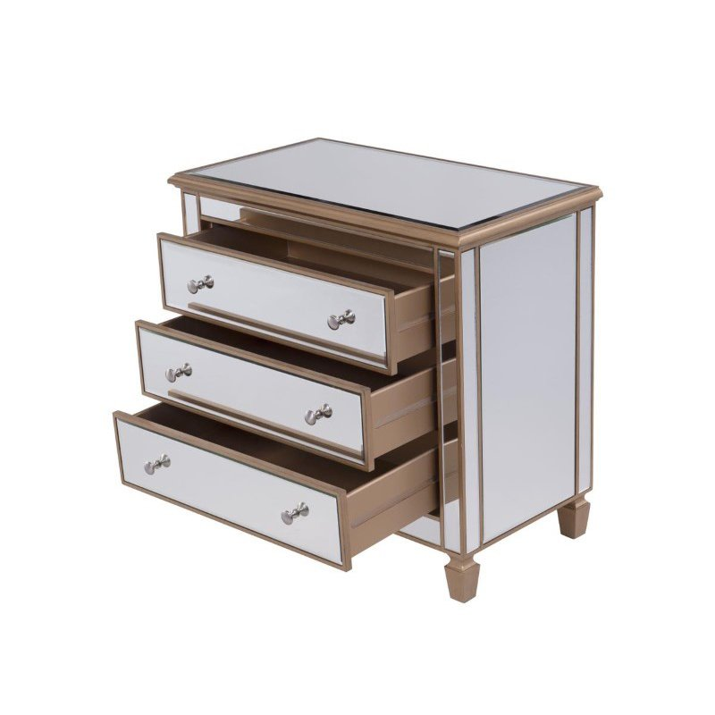 Elegant Decor 3 Drawer Bedside Cabinet 33 in.x 18 in.x 32 in. in Gold paint (MF6-1119G)