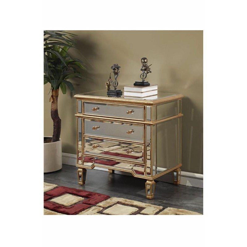 Elegant Decor 3 Drawer Cabinet 30 in. x 20 in. x 30 in. in Gold Leaf (MF1-1002GC)