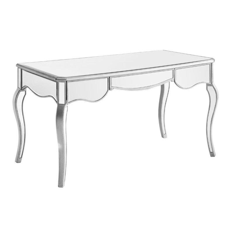 Elegant Decor 3 Drawer Rectangle Desk 52 in. x 28 in. x 30 in. in Silver paint (MF6-1028S)