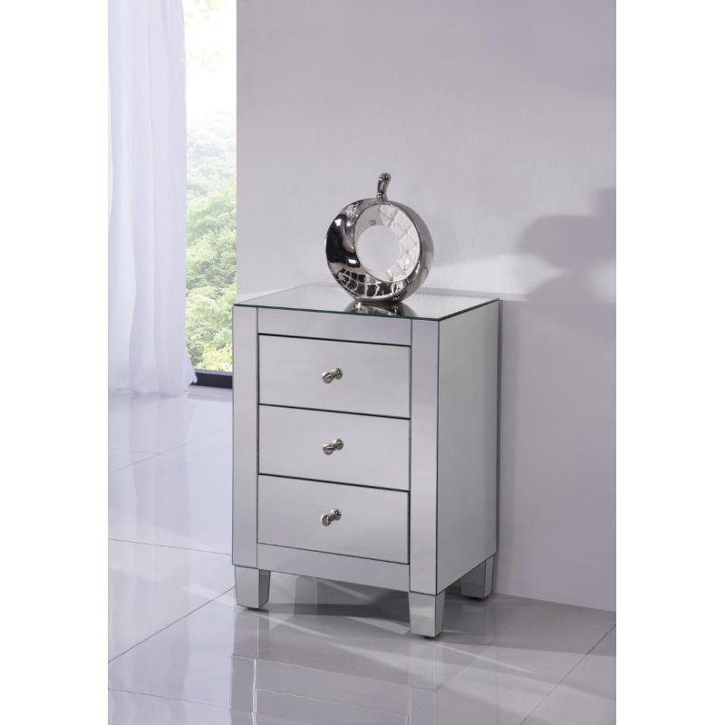Elegant Decor 3 Drawers Cabinet 17-3/4 in. x 13 in. x 25 in. in Clear Mirror (MF6-1032)