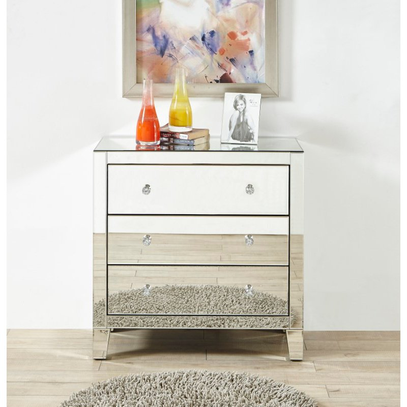 Elegant Decor 3 Drawers Dresser 32 x16 x 32 in. in Clear Mirror (MF6-1050)