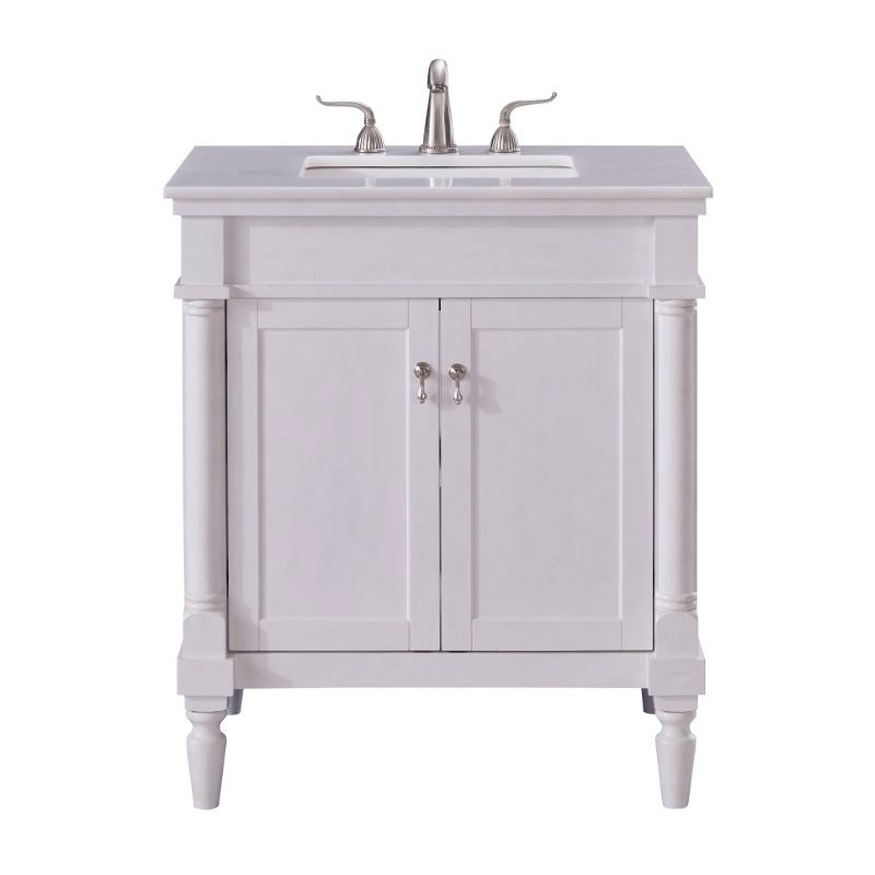 Elegant Decor 30 in. Single Bathroom Vanity Set in Antique White (VF13030AW)