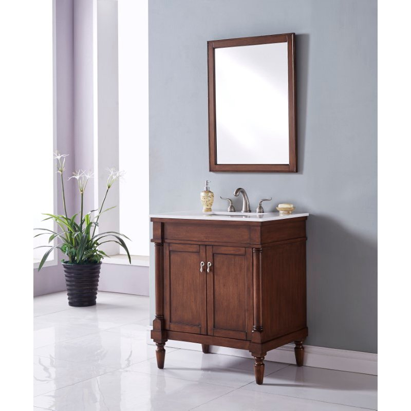 Elegant Decor 30 in. Single Bathroom Vanity Set in Walnut (VF13030WT)
