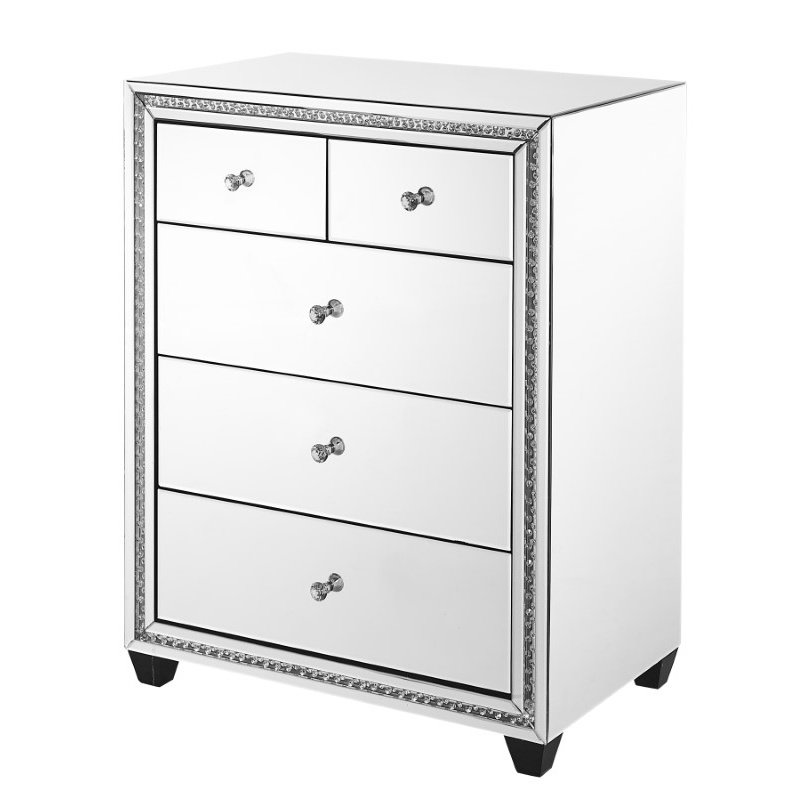 Elegant Decor 31.5 inch Crystal five drawers Cabinet in Clear Mirror Finish (MF91013)