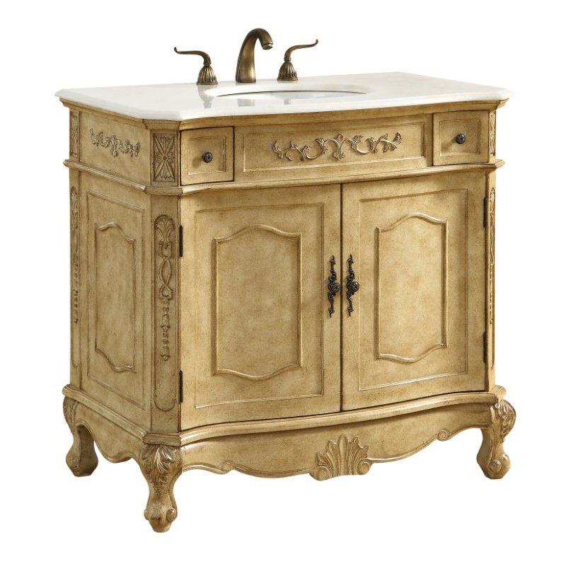 Elegant Decor 36 in. Single Bathroom Vanity Set in Antique Beige (VF10136AB)