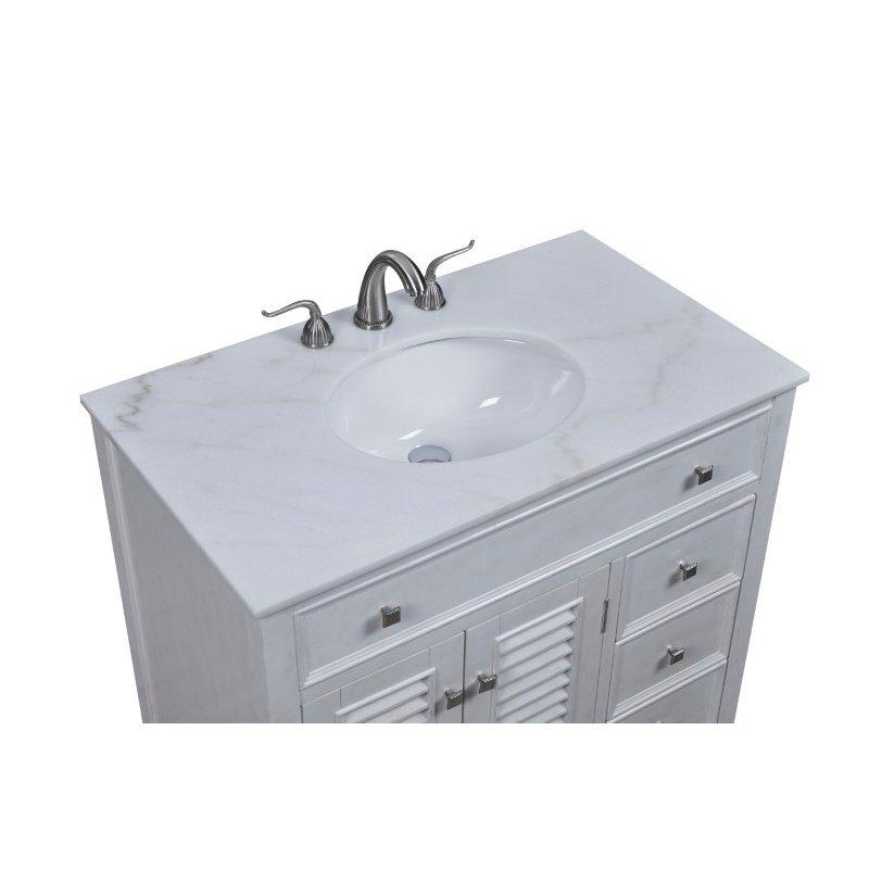 Elegant Decor 36 in. Single Bathroom Vanity Set in Antique White (VF10436AW)