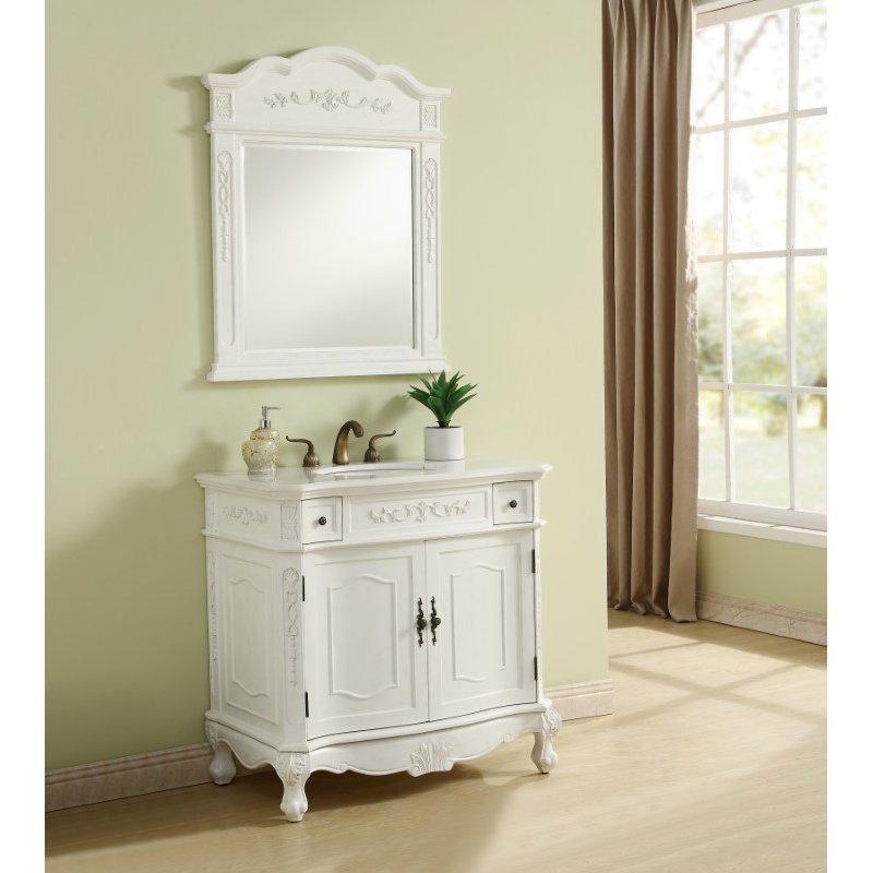 Elegant Decor 36 in. Single Bathroom Vanity Set in Antique White (VF10636AW)