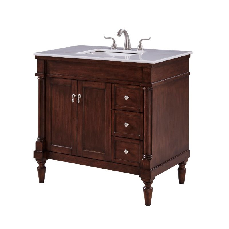 Elegant Decor 36 in. Single Bathroom Vanity Set in Walnut (VF13036WT)