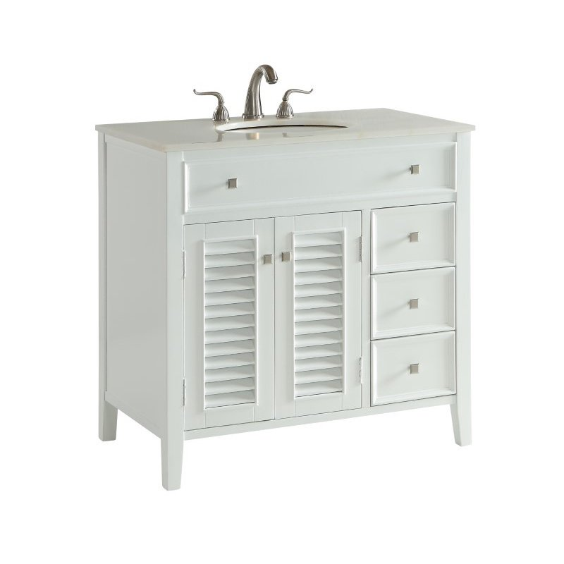 Elegant Decor 36 in. Single Bathroom Vanity Set in White (VF10436WH)