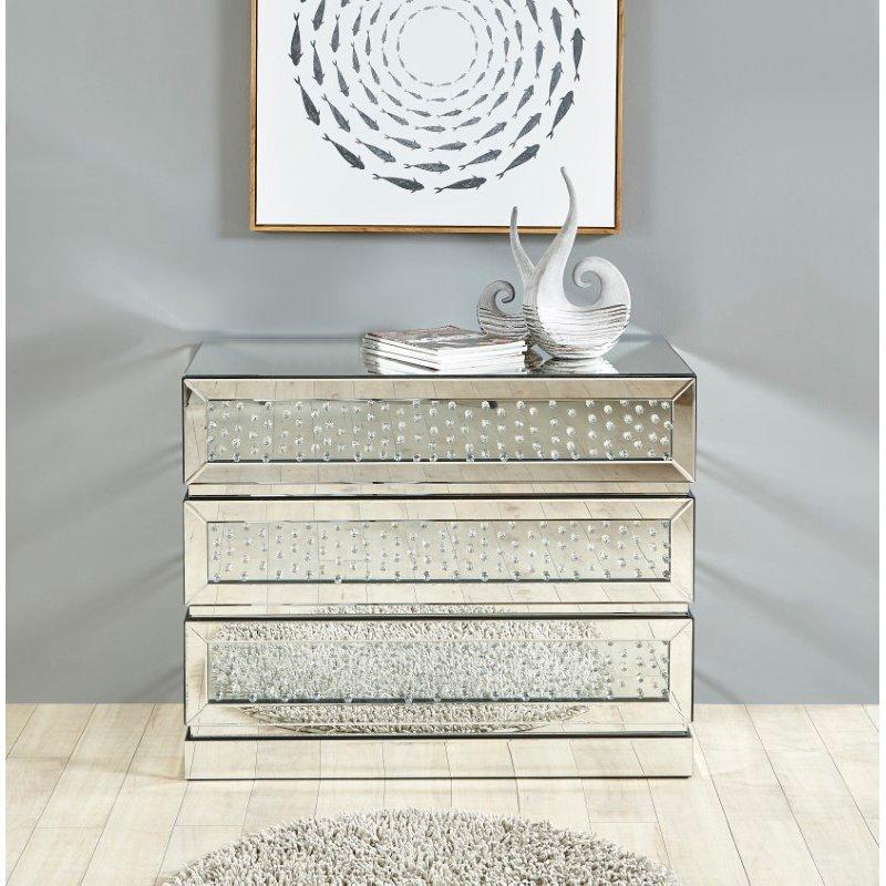 Elegant Decor 39.5 inch Crystal three drawers Cabinet in Clear Mirror Finish (MF91008)