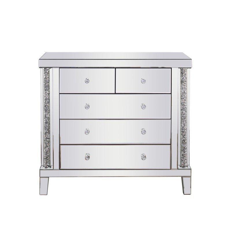 Elegant Decor 39 inch Crystal Cabinet Silver Royal Cut Crystal (MF92017)