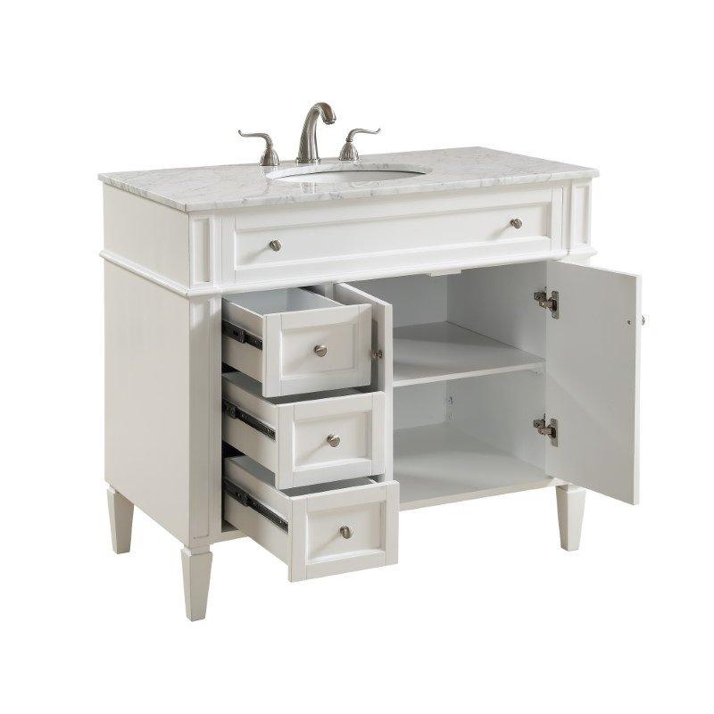 Elegant Decor 40 in. Single Bathroom Vanity Set in White (VF12540WH)
