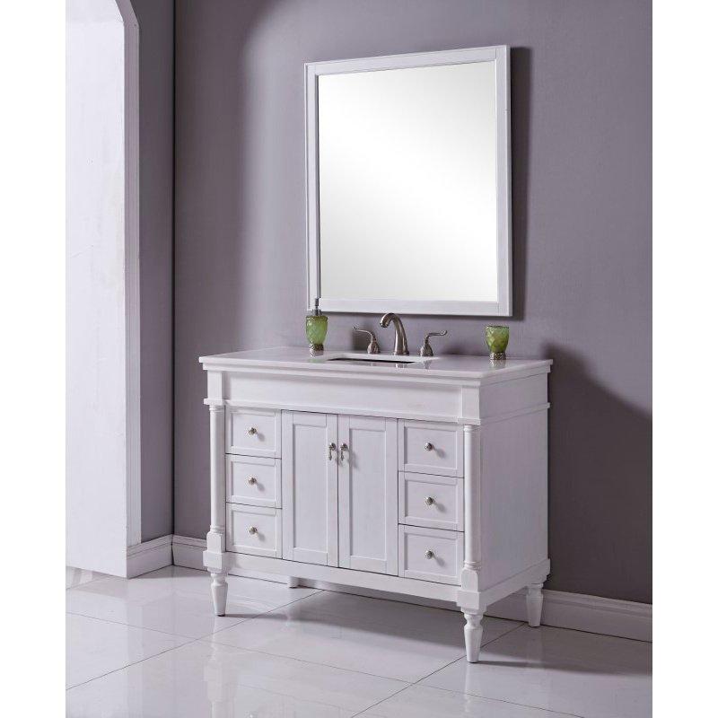 Elegant Decor 42 in. Single Bathroom Vanity Set in Antique White (VF13042AW)