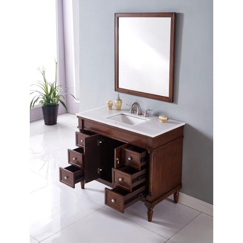 Elegant Decor 42 in. Single Bathroom Vanity Set in Walnut (VF13042WT)