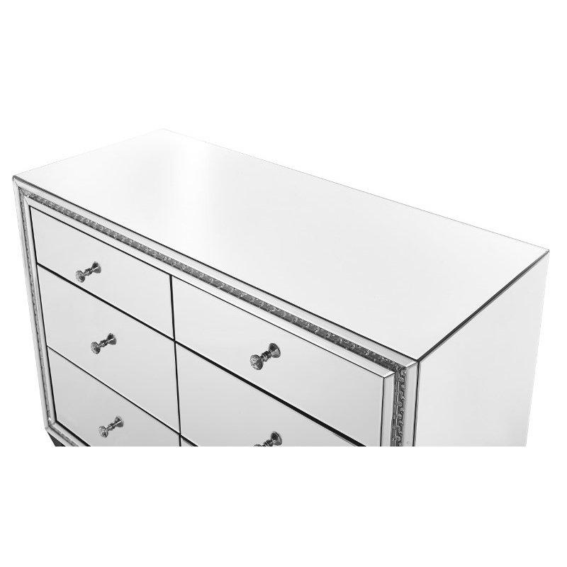 Elegant Decor 47 inch Crystal six drawers Cabinet in Clear Mirror Finish (MF91011)