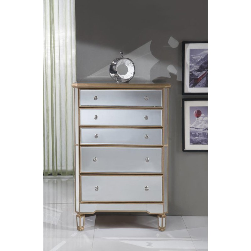 Elegant Decor 5 Drawer Cabinet 33 in. x 16 in. x 49 in. in Gold paint (MF6-1126G)
