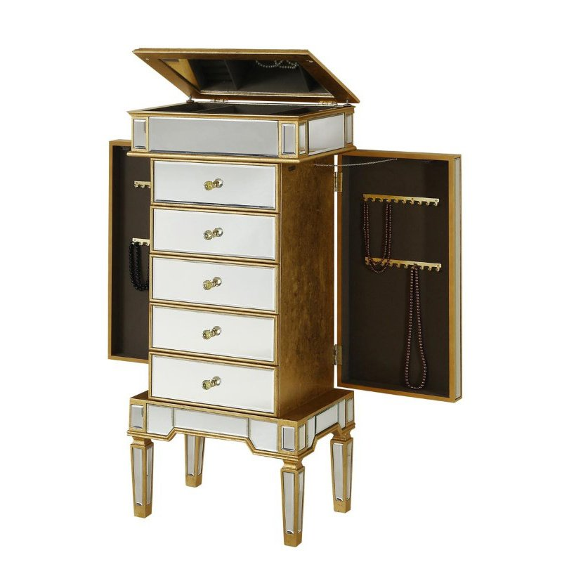 Elegant Decor 5 Drawer Jewelry Armoire 24 in. x 17 in. x 52 in. in Gold Leaf (MF1-5202GC)