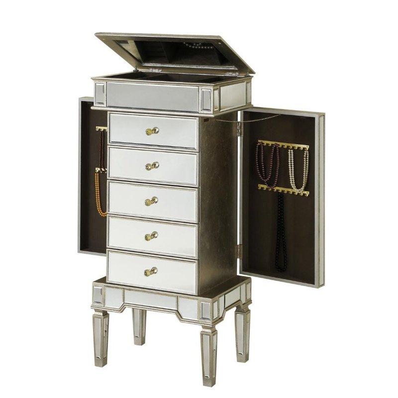 Elegant Decor 5 Drawer Jewelry Armoire 24 in. x 17 in. x 52 in. in Silver Leaf (MF1-5201SC)