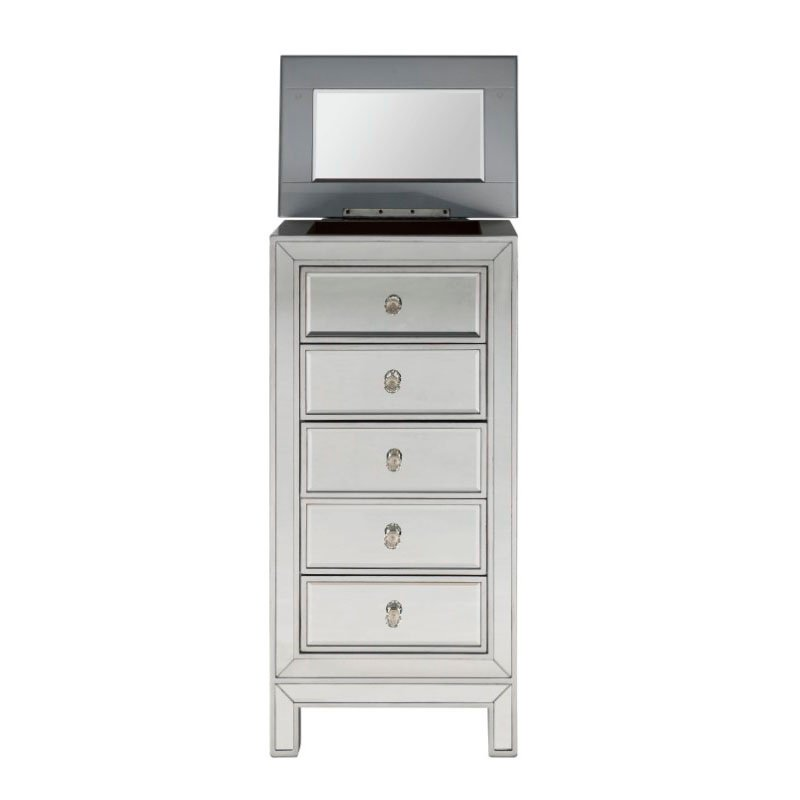 Elegant Decor 5 Drawer Jewelry Armoire W18in. D13in. H35.5in. in antique silver paint (MF72033)