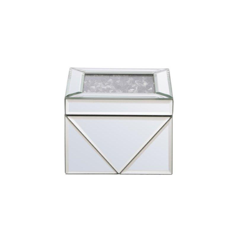 Elegant Decor 5 inch Square Crystal Jewelry Box Silver Royal Cut Crystal (MR9212)