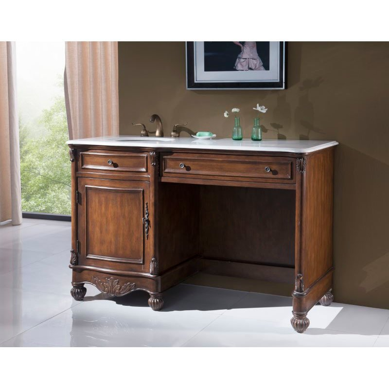 Elegant Decor 52 in. Single Bathroom Vanity Set in Teak Color (VF-1044)