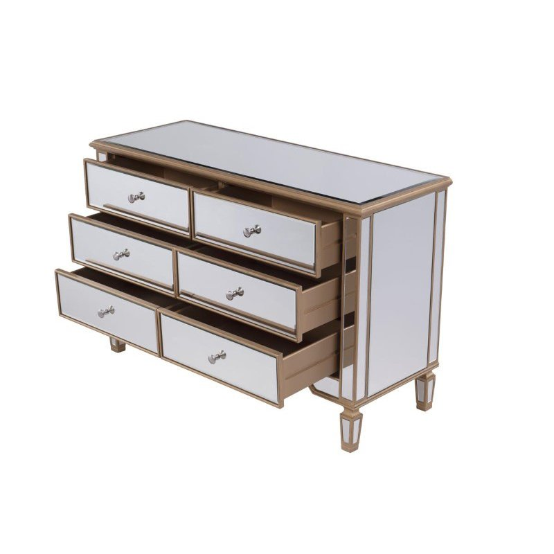 Elegant Decor 6 Drawer Dresser 48 in. x 18 in. x 32 in. in Gold paint (MF6-1117G)