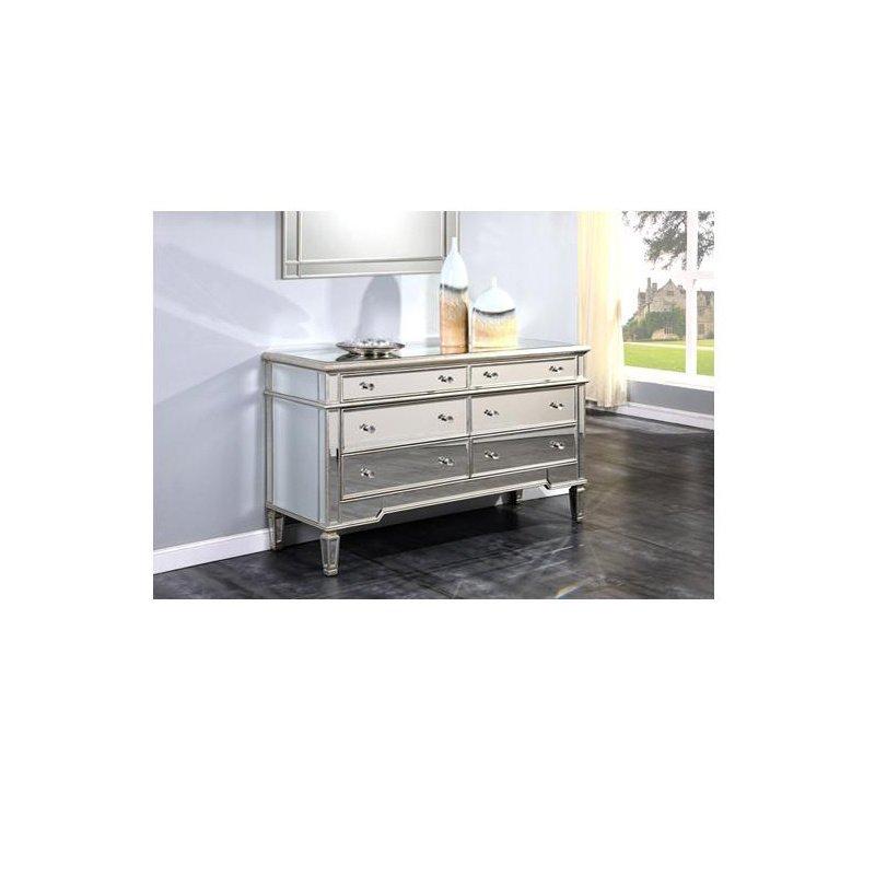 Elegant Decor 6 Drawer Dresser 60 in. x 20 in. x 34 in. in Silver Leaf (MF1-1005SC)