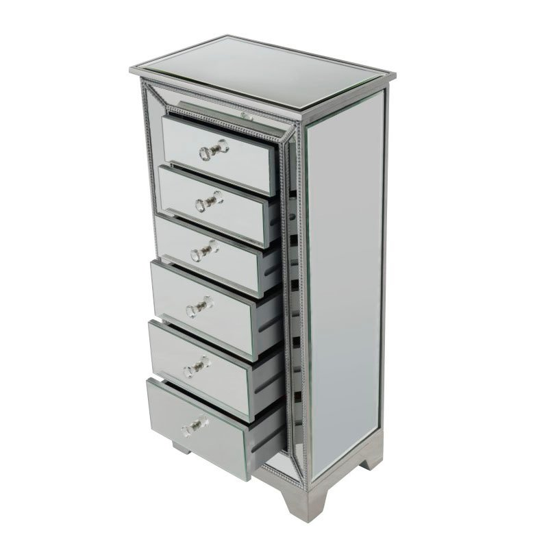 Elegant Decor 6 Drawer Jewelry Armoire W18in. x D12.5in. x H38in. in antique silver paint (MF72003)
