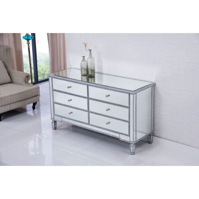 Elegant Decor 6 drawers cabinet 60 in. x 20 in. x 34 in. in Silver paint (MF6-1036S)