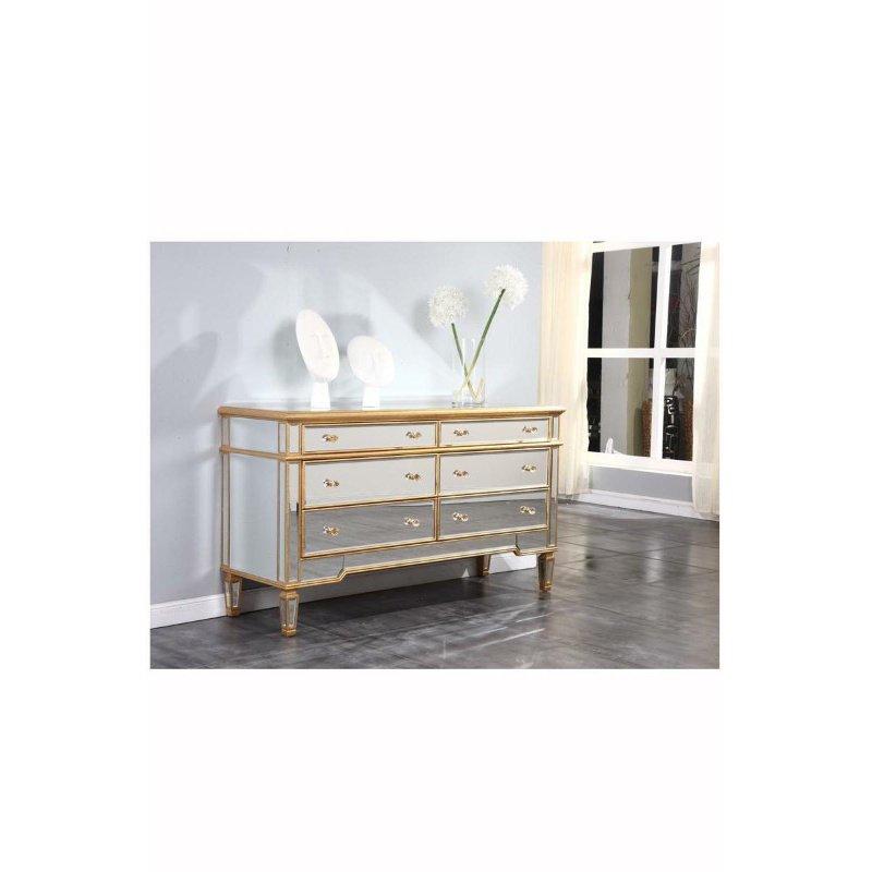 Elegant Decor 6 Drawers Dresser 60 in. x 20 in. x 34 in. in Gold Leaf (MF1-1005GC)