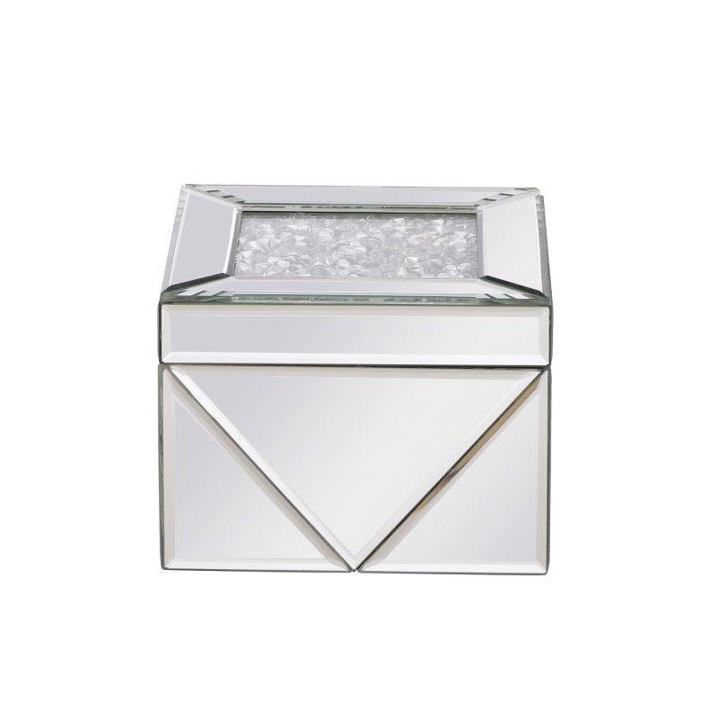 Elegant Decor 6 inch Square Crystal Jewelry Box Silver Royal Cut Crystal (MR9210)