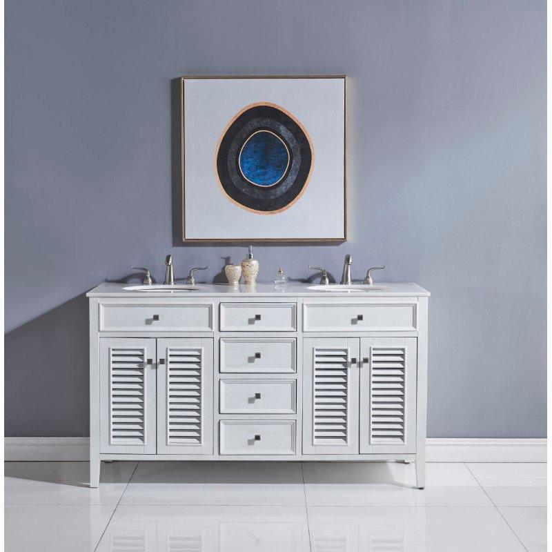 Elegant Decor 60 in. Double Bathroom Vanity in Antique White (VF10460AW)