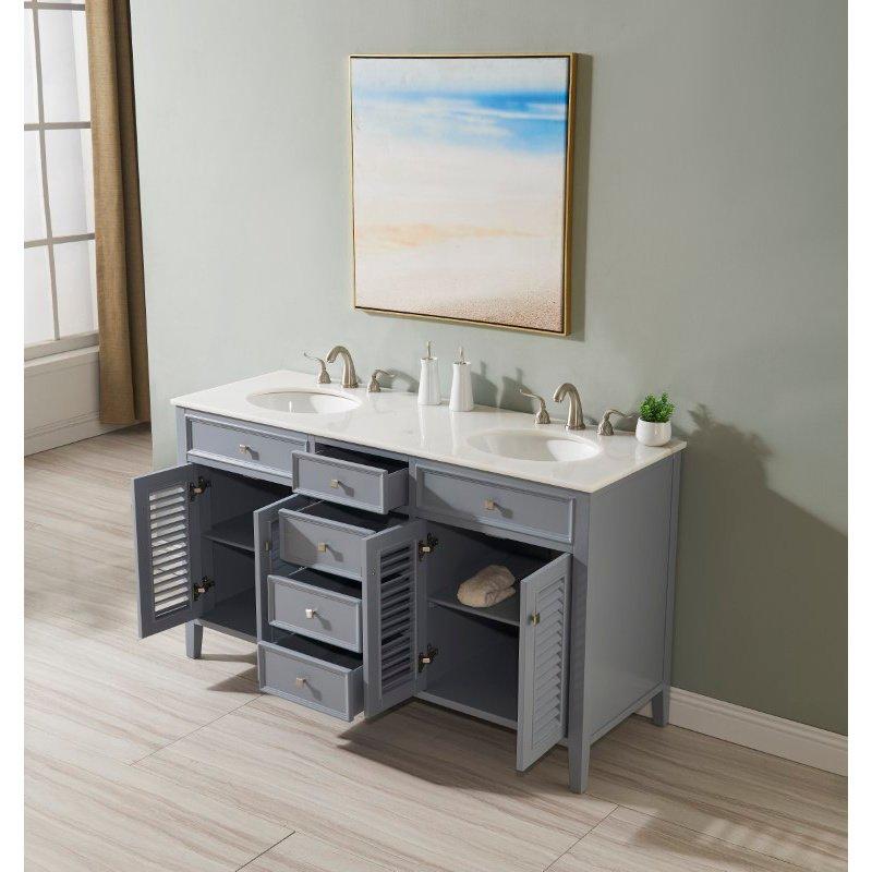 Elegant Decor 60 in. Double Bathroom Vanity in Grey (VF10460GR)