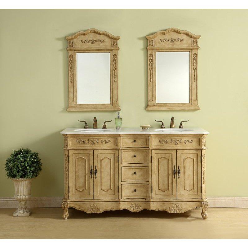 Elegant Decor 60 in. Double Bathroom Vanity Set in Antique Beige (VF10160DAB)