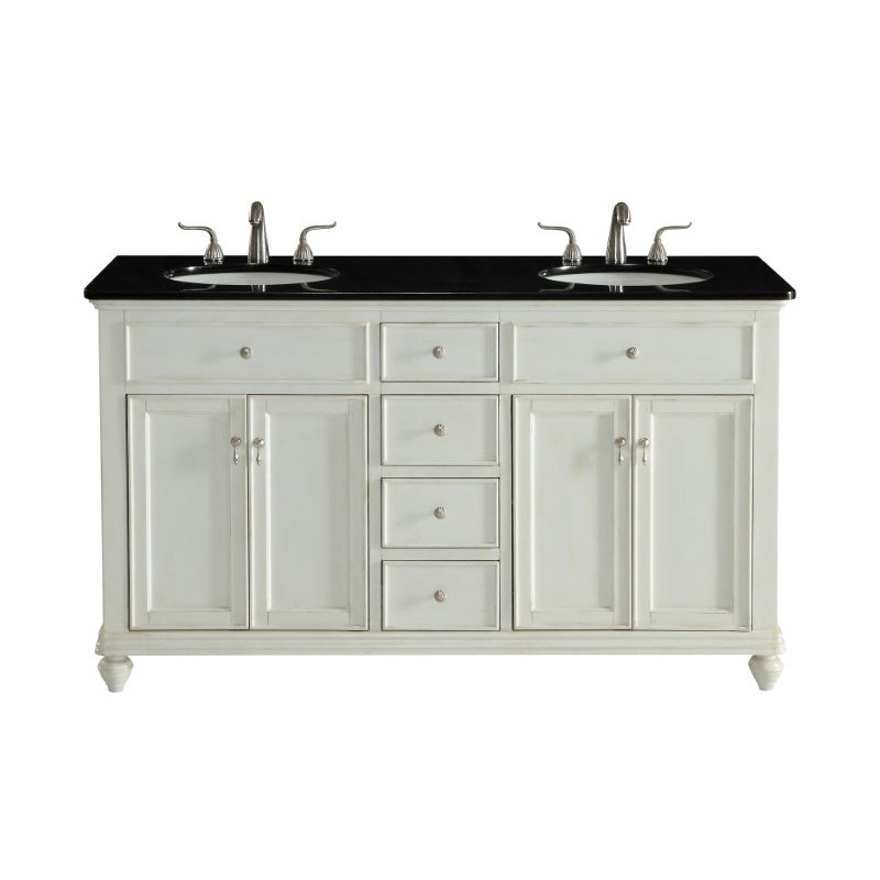 Elegant Decor 60 in. Double Bathroom Vanity Set in Antique White (VF12360DAW)