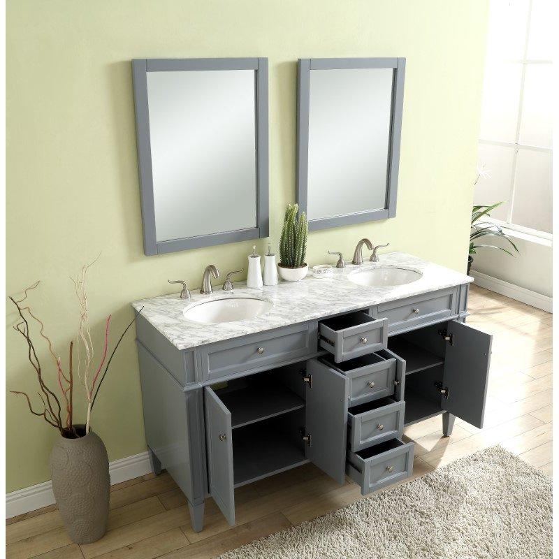 Elegant Decor 60 in. Double Bathroom Vanity Set in Grey (VF12560DGR)
