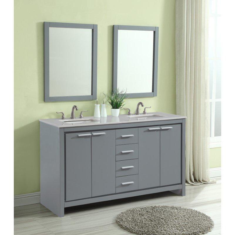 Elegant Decor 60 in. Double Bathroom Vanity Set in Grey (VF12860DGR)