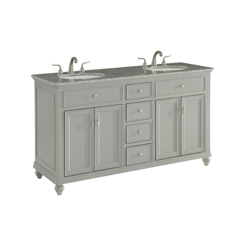 Elegant Decor 60 in. Double Bathroom Vanity Set in Light Grey (VF12360DGR)