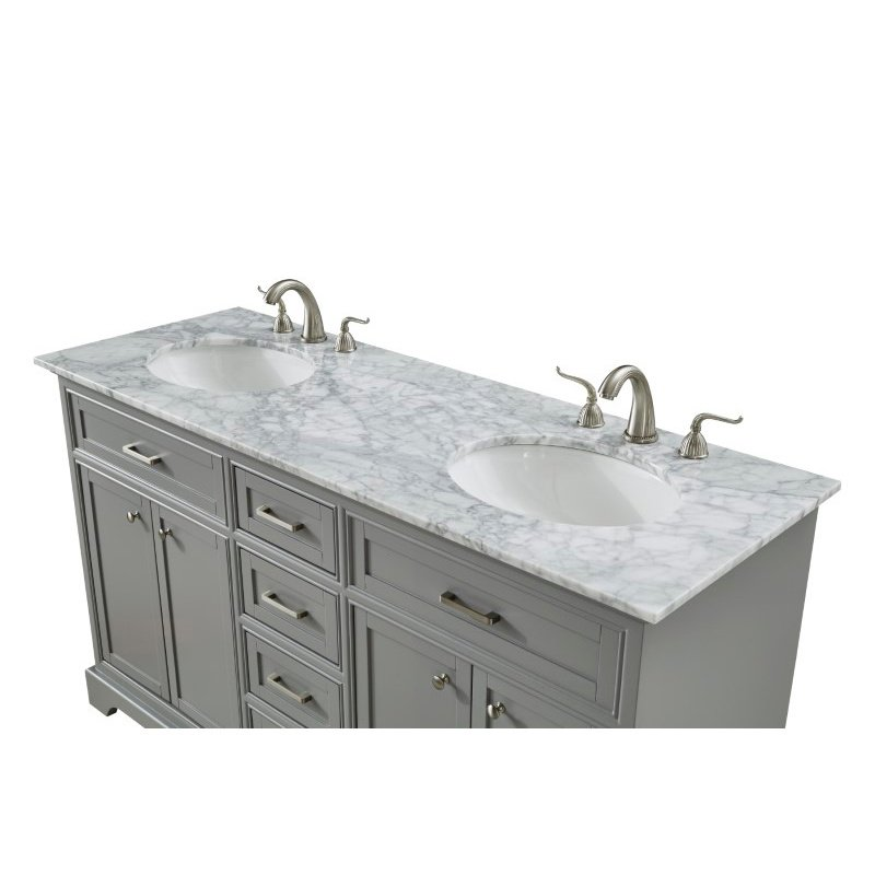 Elegant Decor 60 in. Double Bathroom Vanity Set in Light Grey (VF15060DGR)