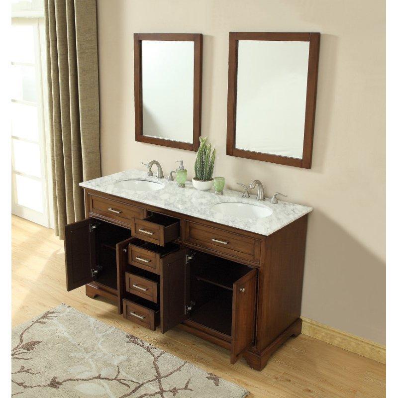 Elegant Decor 60 in. Double Bathroom Vanity Set in Teak (VF15060DTK)