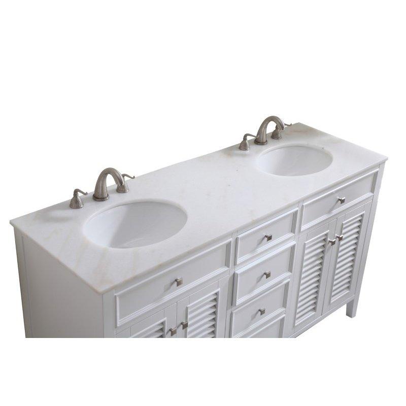 Elegant Decor 60 in. Double Bathroom Vanity Set in White (VF-1042)