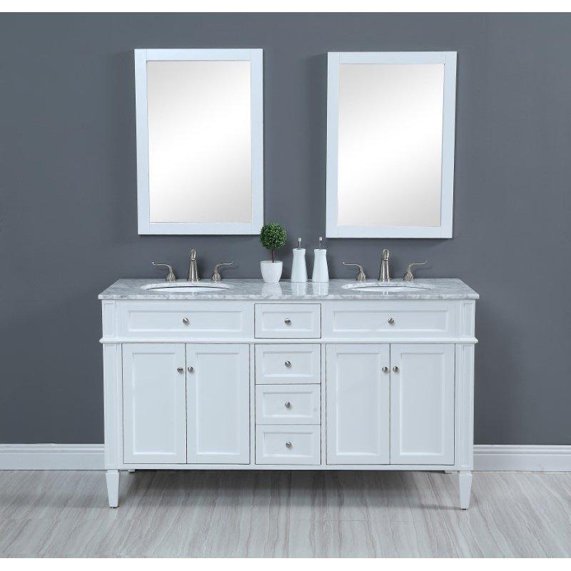 Elegant Decor 60 in. Double Bathroom Vanity Set in White (VF12560DWH)
