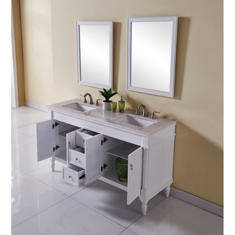 Elegant Decor 60 in. Single Bathroom Vanity Set in Antique White (VF13060DAW)